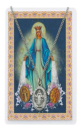 ST. Mary Miraculous Prayer Card Set, Pewter Medal Includes 18