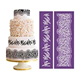 AK ART KITCHENWARE 2pcs/set Flower Mesh Stencil for Royal Icing Lace Cake Stencil Wedding Cake Decorating Tools Set Fondant Mold Lace Mat Gum Paste Tools Baking Pastry Tools Bakeware MST-04