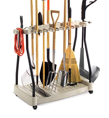 Tool Rack Metal Organizer Rolling Garden Tools Rack Corner Garage Rack Cart On Wheels & eBook by Easy2Find