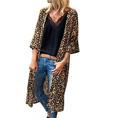 URIBAKE ❤ Fashion Women's Cardigan Autumn Winter 3/4 Sleeves Leopard Print Sexy Open Front Cape ()