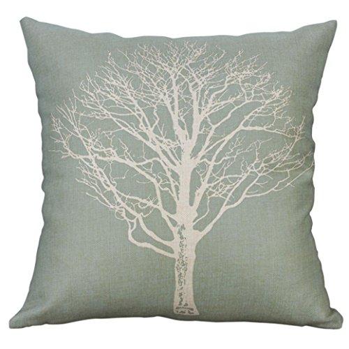 Pillow Cover, Yezijin Cotton Linen Square Home Decorative Throw Pillow Case Sofa Waist Cushion Cover (B) -