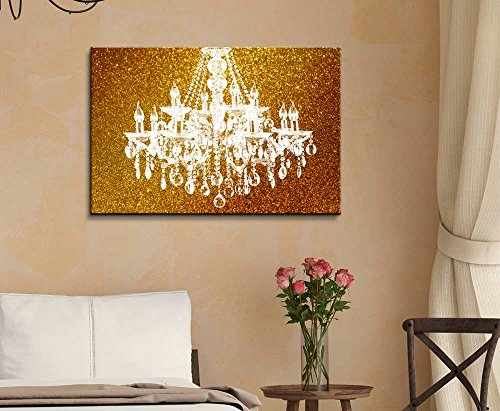 Wll Art Crystal Chandelier on Glittering Golden Background and Stretched