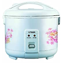 Tiger 5.5 Cup Electric Rice Cooker / Warmer (Floral White)