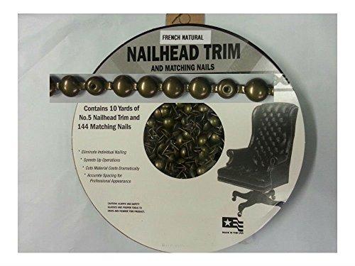 30 Feet Upholstery FRENCH NATURAL Tackstrips Roll Nail Strip Nailhead Trim (Trim Brass Nailhead)