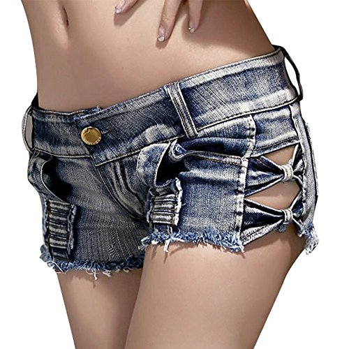 Waist Tassel Hole Denim Shorts (Blue) - 7
