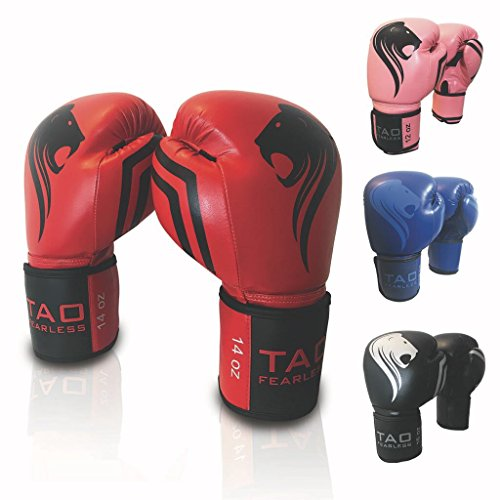 16 Ounce Sack - TAO Boxing Gloves Top Quality Professional Fight Bag Gloves (Red, 16 OZ)