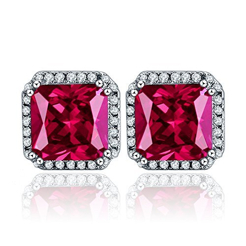4562a5799 BONLAVIE Womens 925 Sterling Silver 10mm Princess Cut Created Red Corundum  Cubic Zirconia Halo Stud Earrings