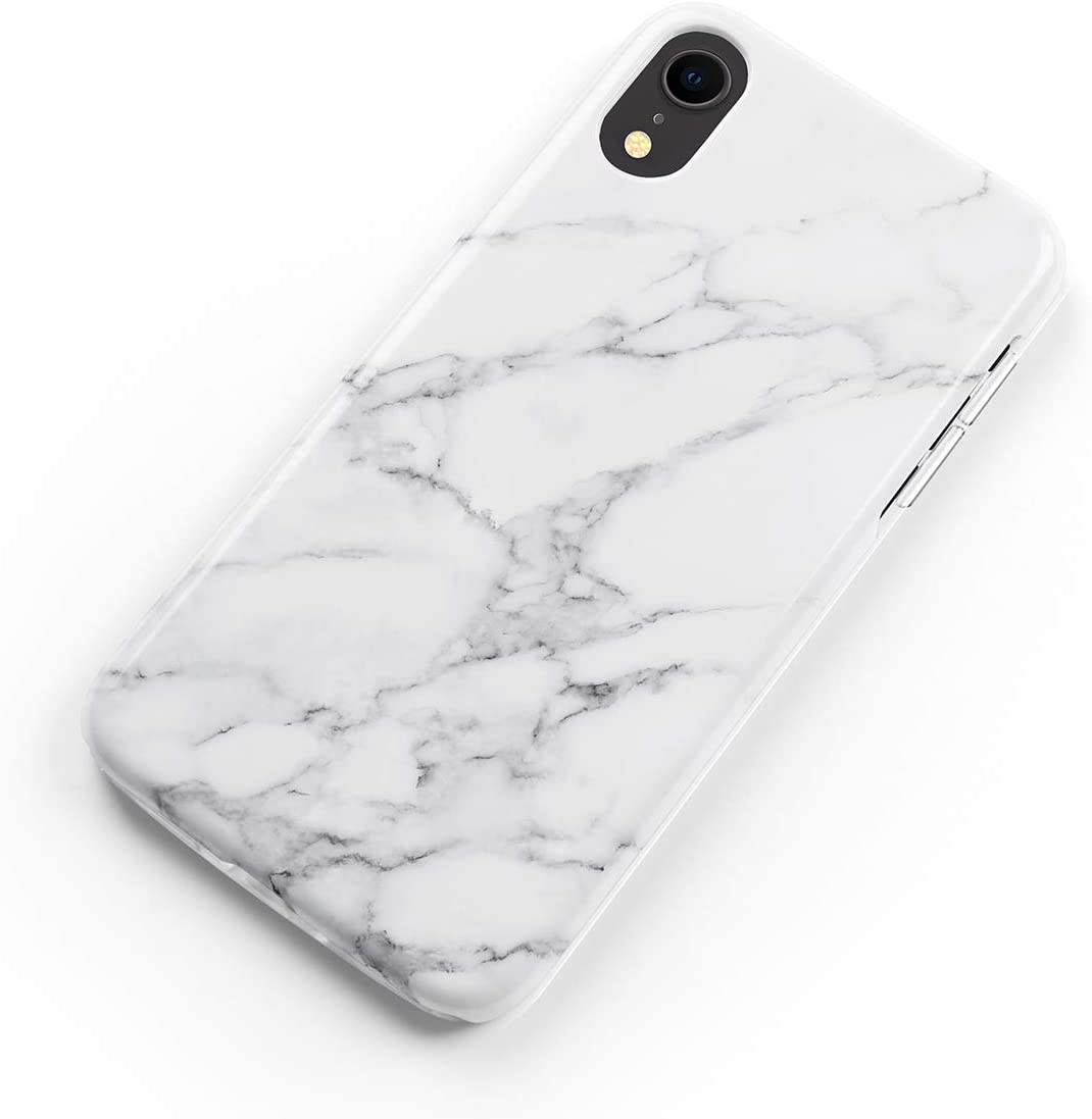 uCOLOR Case Compatible with iPhone XR White Gray Marble Matt Slim Soft TPU Silicone Shockproof Cover Compatible for iPhone XR(6.1inch)
