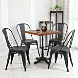 Black Dining Chairs Belleze Set of (4) Metal Chairs Side Dining Steel High Back Counter (Antique Black)
