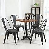 Belleze Set of (4) Metal Chairs Side Dining Steel High Back Counter (Antique Black)