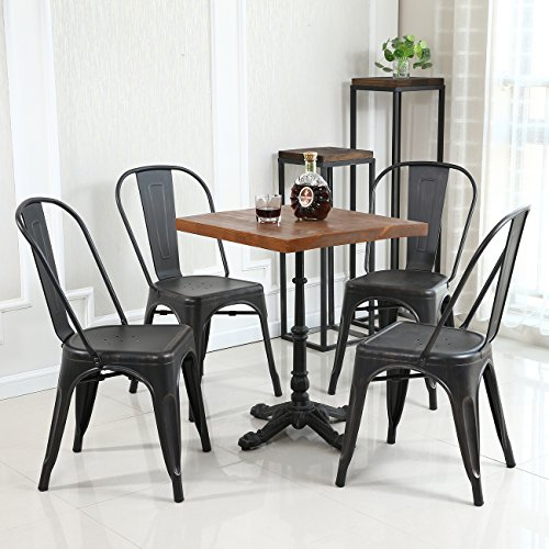 Belleze Set Of 4 Metal Chairs Side Dining Steel High Back Counter Antique Black