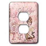 3dRose lsp_274858_6 Image of Nostalgic Woman in Shades of Soft Pink Plug Outlet Cover, Multicolor