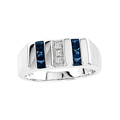 44319f7f865fc Esty & Me Men's Simulated Sapphire Ring in Sterling Silver|Amazon.com