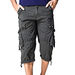 Hzcx Fashion Mens washed cotton long capris multi-pockets casual cargo shorts SJXZ1800-5820-55-R-31