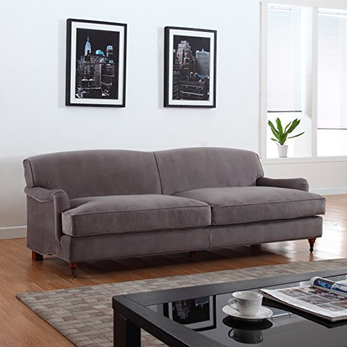 Mid Century Modern Sophisticated Large Brush Microfiber Sofa with Casters (Grey)