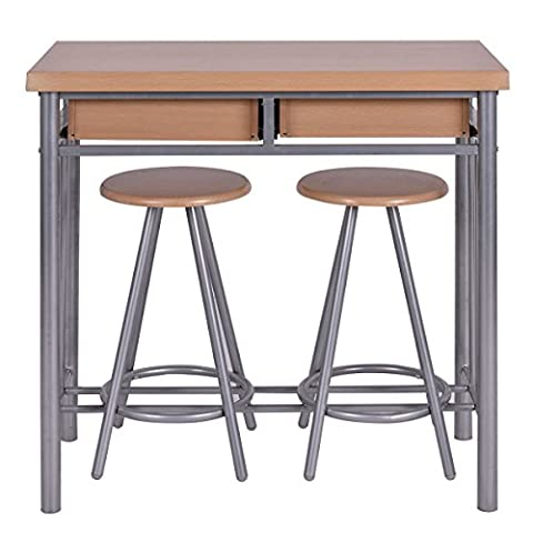 3 Piece Dining Set Table and 2 Chairs Dinette Kitchen Breakfast Metal Wood New - Pub Table Dinette