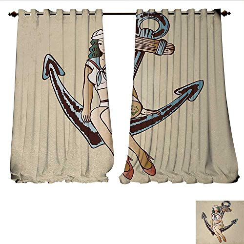 Blackout Window Curtain Pinup Girl with Sailor Outfit Shark and Heart Tattoo Vintage Twenties Illustration Customized Curtains W120 x L84 Multicolor