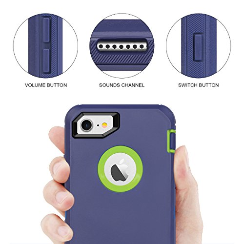 MAXCURY iPhone 7 Defender Case iPhone 8 Case with Built-in Screen Protector 4.7 Heavy Duty Shockproof Series Case for iPhone 7//8 Navy//Blue