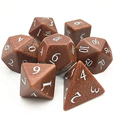 Amatolo Handmade Natural Gemstone Dice Set, Collection Jade Dices for Dungeons & Dragons (C15 Gold Sandstone): Toys & Games