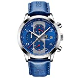 BENYAR Fashion Watches Quartz Chronograph Waterproof Blue Casual Sport Wrist Leather Band Watch For Men (Blue)