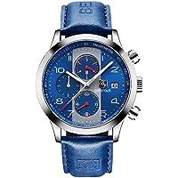 BENYAR Fashion Chronograph Quartz Watch Waterproof Casual Sport Leather Band Watches For Men