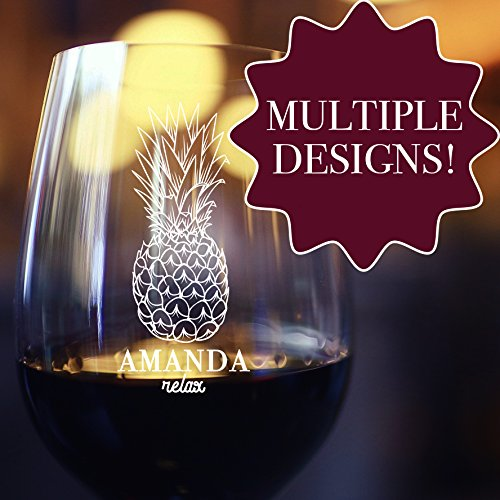 Personalized Etched Stemless Wine - Customize Glasses