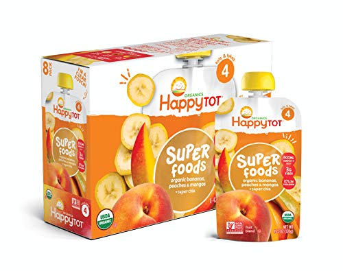 Foods Peach - Happy Tot Organic Super Foods Bananas Peaches & Mangos + Super Chia, 4.22 Ounce Pouch (Pack of 16) (Packaging May Vary)