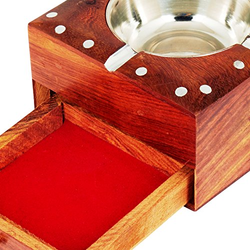 Fathers Day Gifts Handcrafted Cigarette or Cigar Smoking Wooden Ashtray Home Living Room Office Patio Poker Coffee Tabletop For Cigarettes Unique Vintage Decorative Square Indoor Outdoor Ash Holder