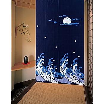 Dark Blue Peaceful Night Pattern Doorway Curtain Big Waves And Bright Moon  Shinny Stars Japanese Style Noren Curtain