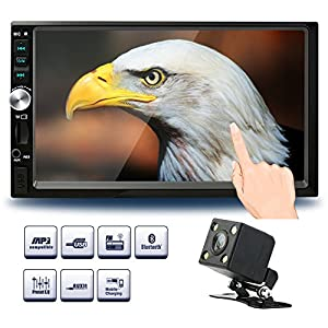 Double Din Car Stereo, 7-Inch Touch Screen Car Radio MP3/MP5/FM Player Supports Bluetooth/USB/TF with Remote Control