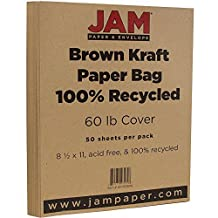 """JAM Paper® Cardstock - 60lb Recycled Cover - Letter Size - 216 mm x 279.5 mm (8 1/2"""" x 11"""") - Brown Kraft Paper Bag - Pack of 50 Sheets"""