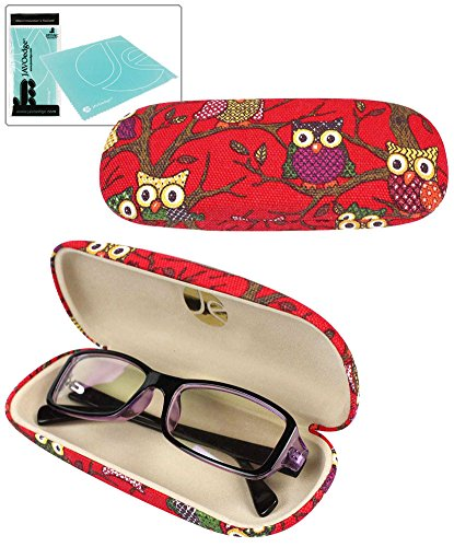 JAVOedge Red Owl Fabric Print Eyeglass Clam Shell Style Case with Bonus Mircofiber Cleaning Cloth