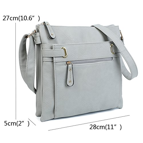 For Multi Womens Medium Beige Cross Shoulder Trendy Messenger Body Handbags Pocket Bag Compartment And Ladies F7wy5qwU
