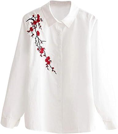 Blusa de algodón para Mujer, Color Blanco, con Botones, para Oficina, Camisa de Manga Larga y Camisetas de Talla Grande - Negro - Large: Amazon.es: Ropa y accesorios
