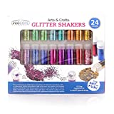 Glitter Shaker 24 Multi Colored Jar Set, Fine for Scrapbooking, Making Slime, Greeting Cards, Great for Holiday Decorations, Bonus Craft Glue Bottle