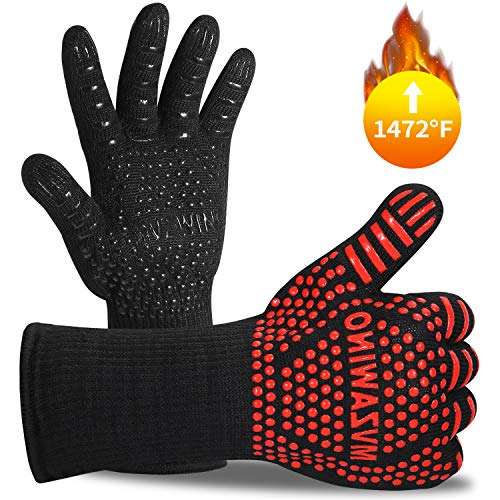 Premium BBQ Gloves, 1472°F Extreme Heat Resistant Oven Gloves, Grilling Gloves with Cut Resistant, Durable Fireproof Kitchen Oven Mitts Designed for Cooking, Grill, Frying, Baking, Barbecue-1 pair