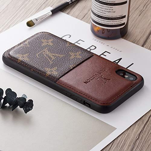 討論皮肉ささやきFBA ファストデリバリー - 新しいファッションエレガントな高級高級PUレザーモノグラムスタイルのカバーケースとアップルのiPhone 8/iPhone 7/8 Plus, iPhone X/xs, iPhone XR, iPhone XS MAX 用カードスロット (Color : Brown, Size : For iPhone X)