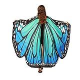 Han Shi Butterfly Shawl, Fashion Women Print Pashmina Scarves Nymph Pixie Poncho Costume (L, Blue)