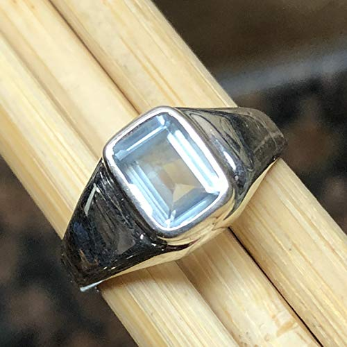 Natural 1ct Aquamarine 925 Solid Sterling Silver Marquise Men's Ring sz 7