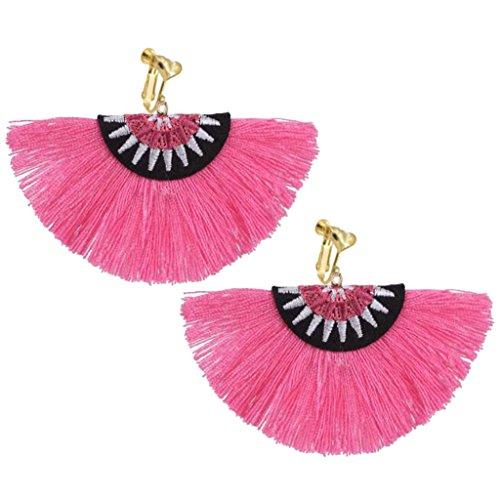 Bohemian Ethnic Clip on Earrings Heart Clips Pink Silk Fringe Thread Fan Fancy Wedding Prom Earring by Sojewe