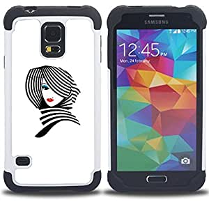 - lady white black stylish lips/ H??brido 3in1 Deluxe Impreso duro Soft Alto Impacto caja de la armadura Defender - SHIMIN CAO - For Samsung Galaxy S5 I9600 G9009 G9008V
