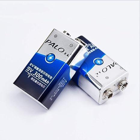 Palo 2-Pack 9V 300mAh Baterías Recargables Ni-MH para detectores de Humo/
