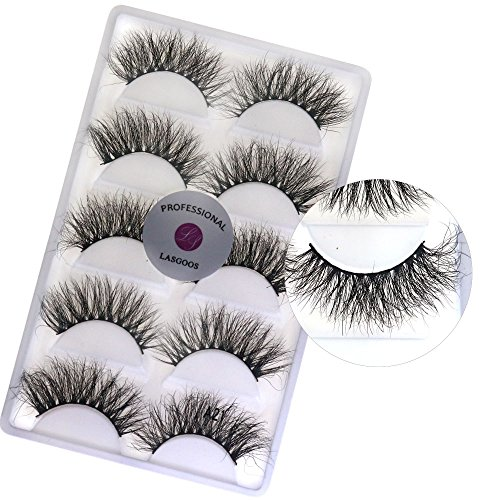 (3D Real Mink Long False Eyelashes LASGOOS Siberian Cruelty-free Luxurious Winged Fake Eye Lashes Makeup 5 Pairs/Box A21)