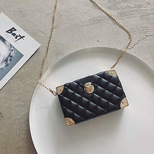 WSLMHH boîte coréenne épaule d'été Sauvage de Sac Unique de de Femme Version rhombique Petit Paquet Messenger Sac de chaîne Noir l'élégant rnTfXr