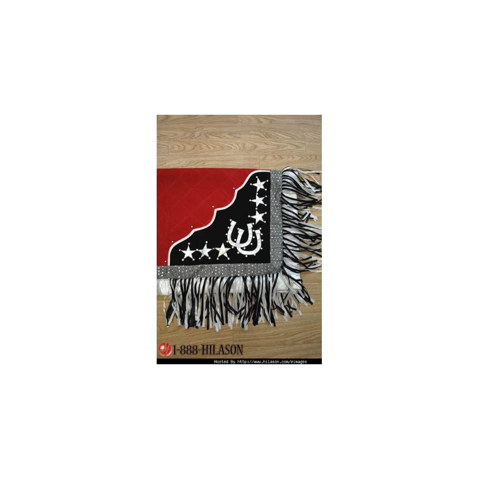 Blanket Red Body Silver Border Horse Shoes & Star Design White And Black Fringes