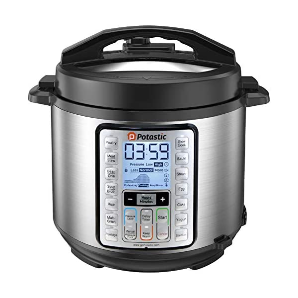 Potastic EP6 10-in-1 Programmable Electric Pressure Cooker,6 Quart,LCD Display,Instant Cooking with Stainless Steel Pot… 1