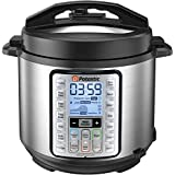Potastic EP6 10-in-1 Programmable Electric Pressure Cooker,6 Quart,LCD Display,Instant Cooking with Stainless Steel Pot, Multi-use for Rice,Yogurt,Egg,Sauté,steam silver