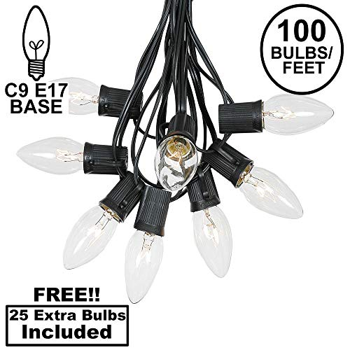(C9 Clear Christmas String Light Set - Outdoor Christmas Light String - Christmas Tree Lights - Hanging Christmas Lights - Roofline Light String - Outdoor Patio String Lights - Black Wire - 100 Foot)