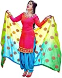 BRIVA Women's Cotton Unstitched Patiala Suit Dress Material (Pink_Free Size)