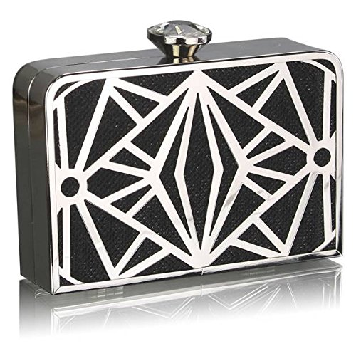 TrendStar - Cartera de mano para mujer Small negro - Black Hard Case Box Clutch